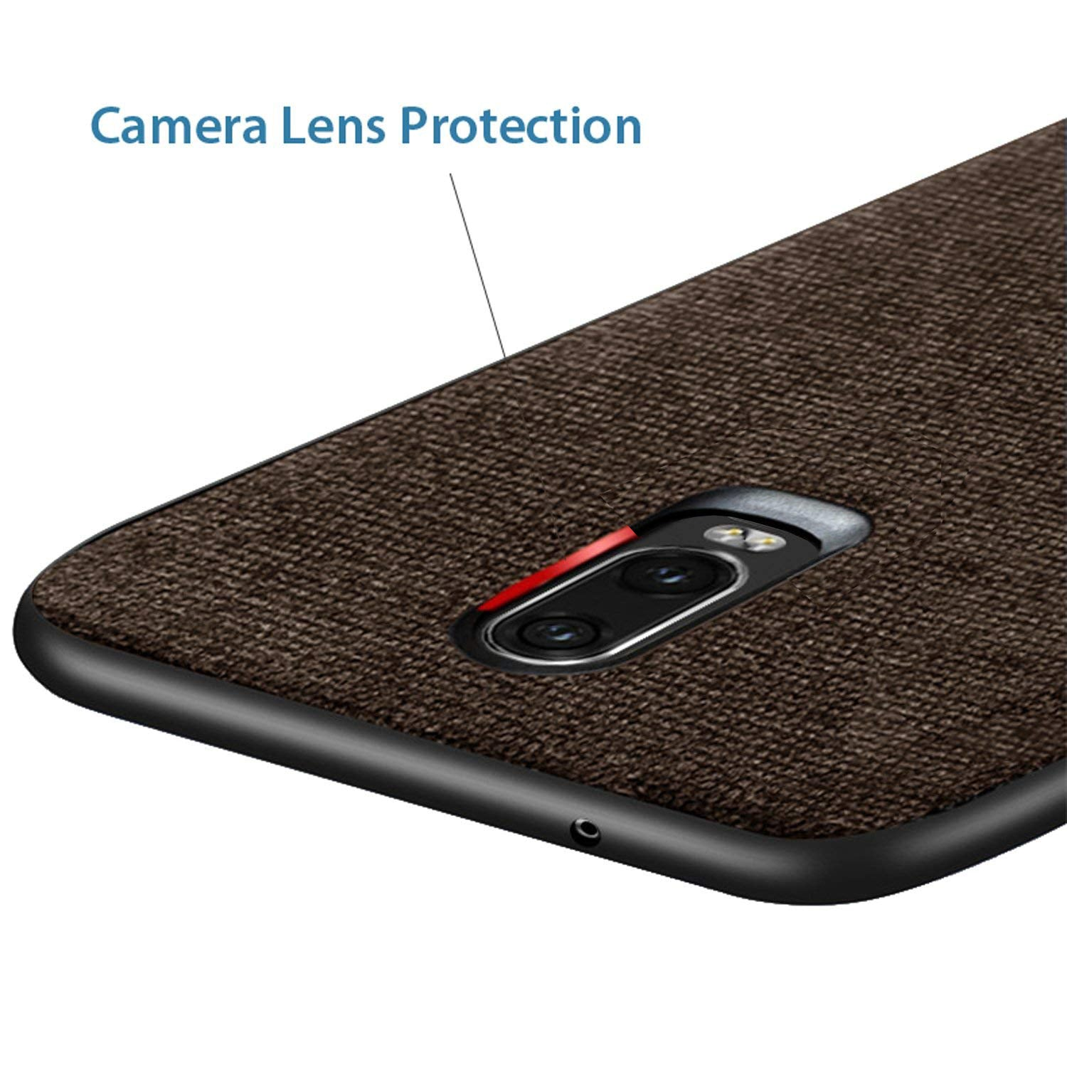 Fabric + Leather Hybrid Protective Case Cover for Oneplus 6T -  Brown - Mobizang