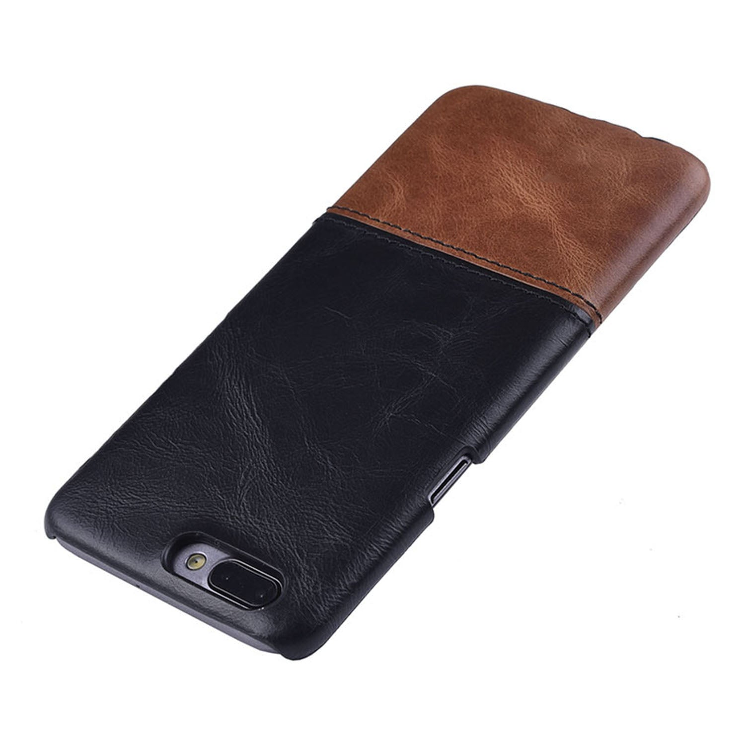 Genuine Leather Dual Color Hand Stitched Premium Protective Case Cover for Oneplus 5 - Black , Brown - Mobizang