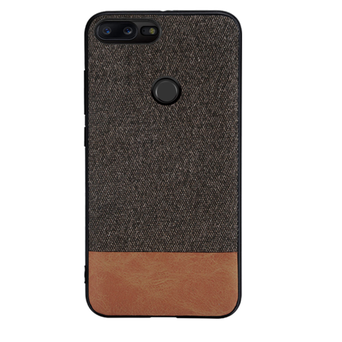 Fabric + Leather Hybrid Protective Case Cover for Oneplus 5T -  Black , Brown - Mobizang