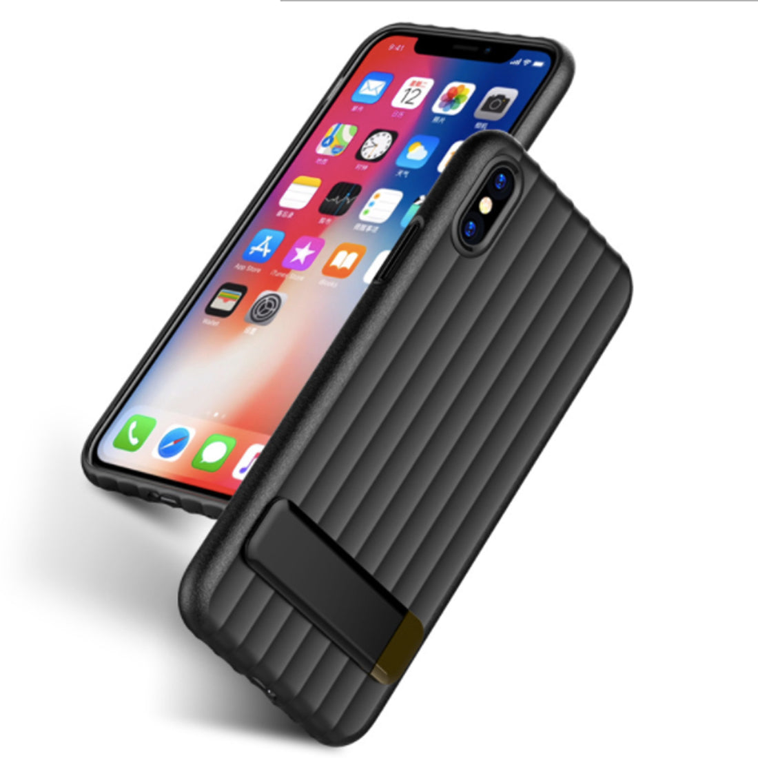 Wave Design with inbuilt Metal Stand Back Case Cover for Apple iPhone X - Black - Mobizang