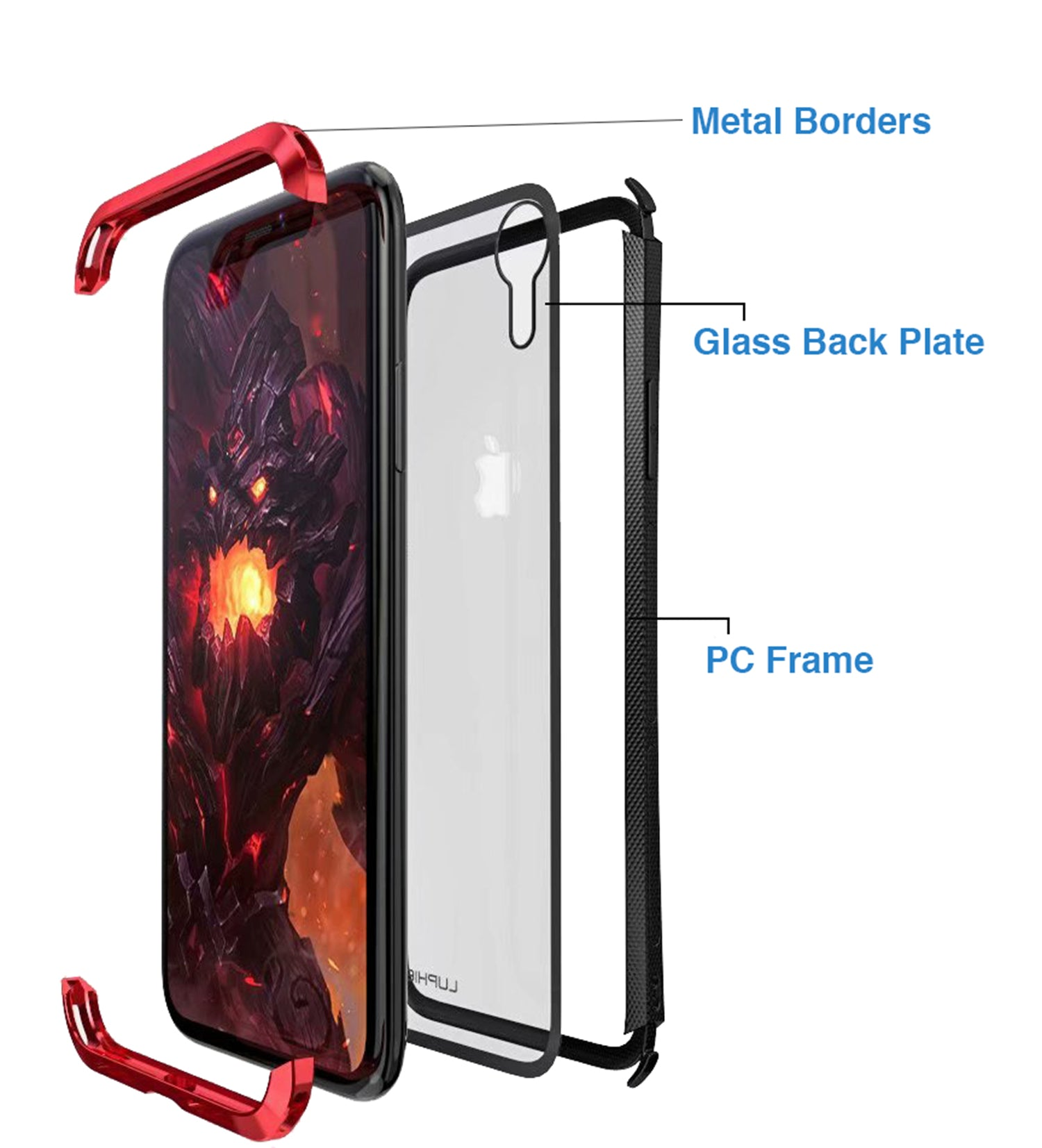 Tempered Glass Back + Metal Side Frame Bumper Shock Proof Case Cover for Apple iPhone XR - Mobizang