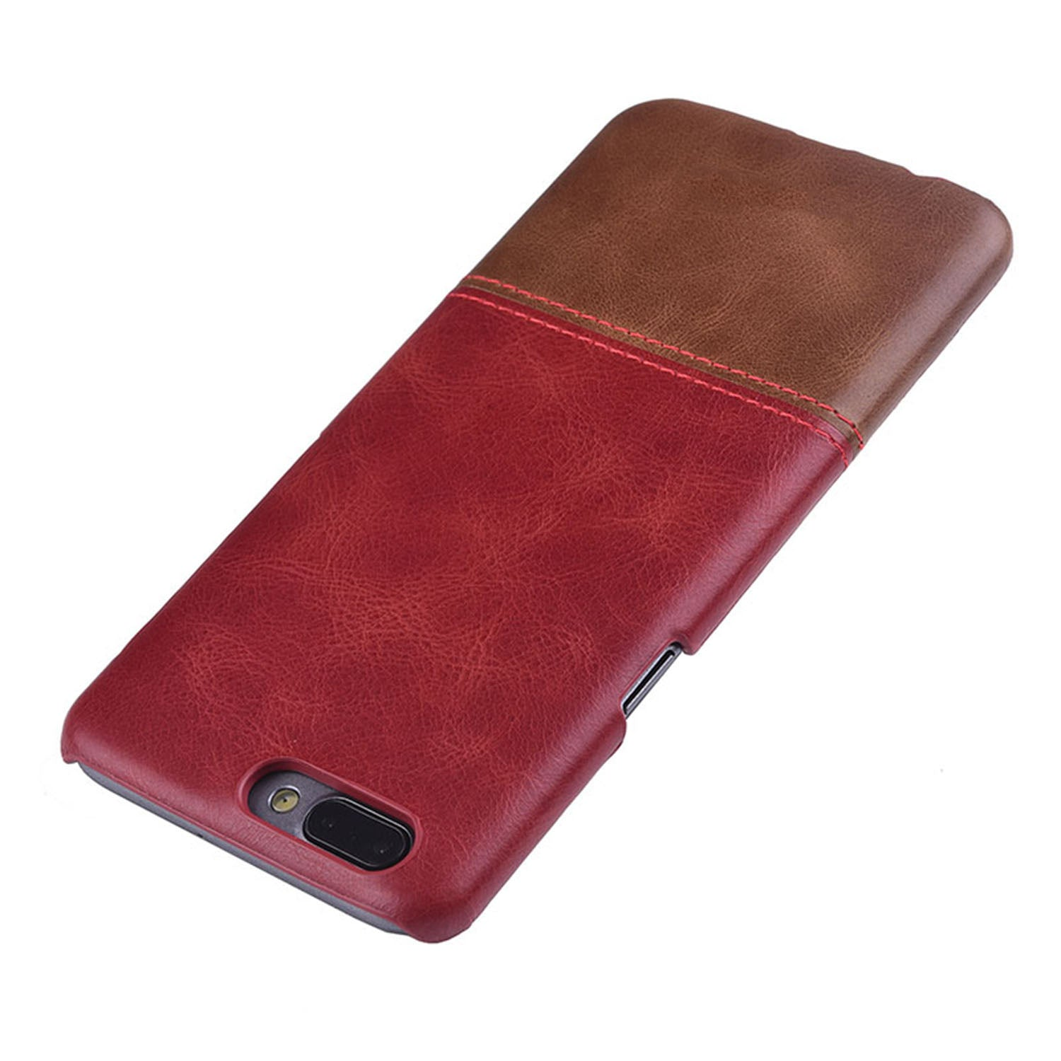 Genuine Leather Dual Color Hand Stitched Premium Protective Case Cover for Oneplus 5 - Wine Red, Brown - Mobizang