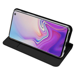 Ulta Slim Magnetic Closure PU Leather Stand Back Case Cover [with Inbuilt Card Slot] for Samsung Galaxy S10e - Black - Mobizang