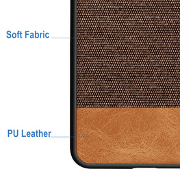 Fabric + Leather Hybrid Protective Back Case Cover for Xiaomi Redmi Note 6 PRO  -  Brown - Mobizang