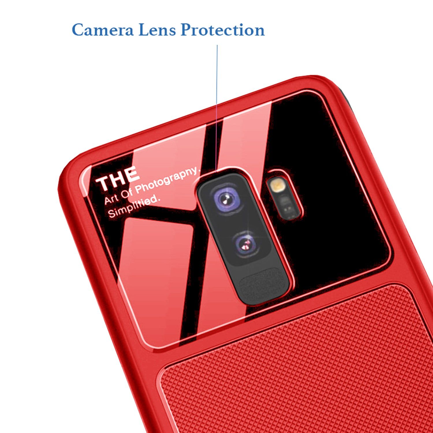 Anti Slip Shock Proof Slim Silicone + Hard Glass Back Case Cover for Samsung Galaxy S9+ Plus - Red - Mobizang