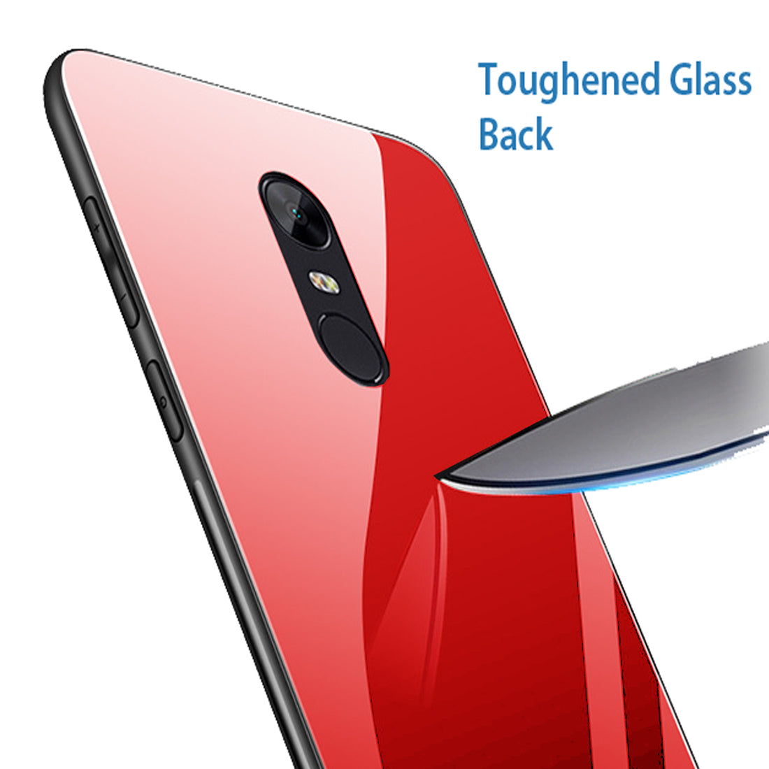 Toughened Glass Back Shock Proof Slim Case Cover for Xiaomi Redmi Note 5 - Red - Mobizang