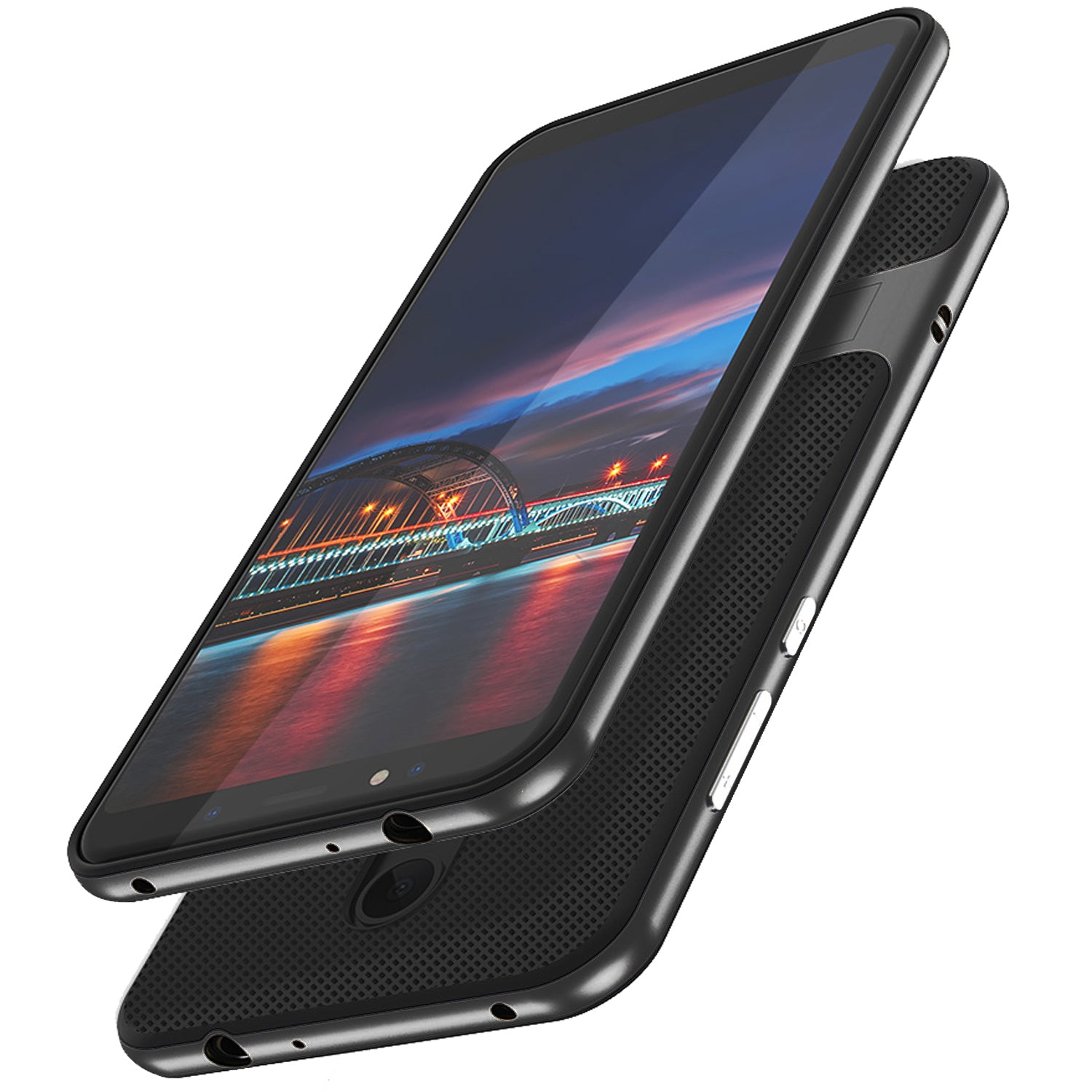 Shock Proof Stand Back Case Cover for Xiaomi Redmi Note 5 - Black - Mobizang