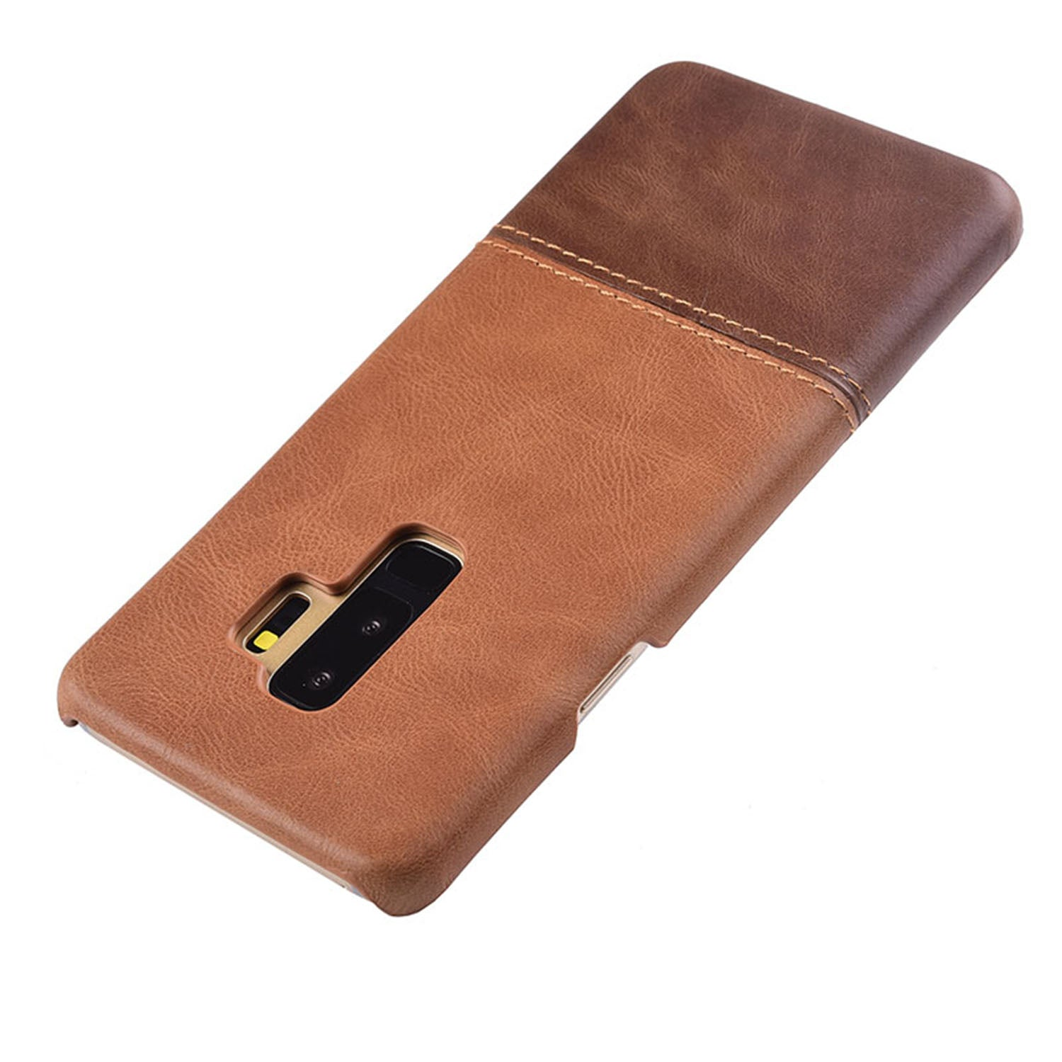 Genuine Leather Dual Color Hand Stitched Protective Case Cover for Samsung Galaxy S9+ (PLUS) - Brown - Mobizang