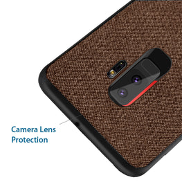 Fabric + Leather Hybrid Protective Case Cover for Samsung Galaxy S9+ (PLUS) - Brown - Mobizang