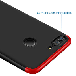 3 in 1 - 360° Full Protection Body Case Cover for Huawei Honor 9 Lite - Red , Black - Mobizang