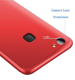 3 in 1 - 360° Full Protection Body Case Cover for VIVO V7+ [PLUS] - Red - Mobizang