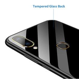 Toughened Glass Back Shock Proof Slim Case Cover for Vivo V9 / V9 Youth - Black - Mobizang