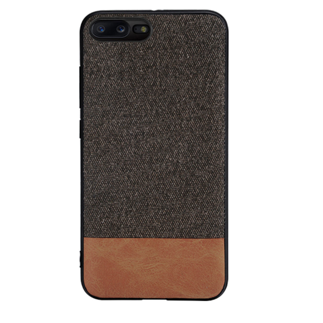 Fabric + Leather Hybrid Protective Case Cover for Oneplus 5 -  Brown - Mobizang
