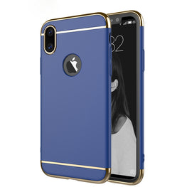 Chrome 3 Piece Hybrid Protective Back Case Cover for Apple iPhone X - Blue - Mobizang