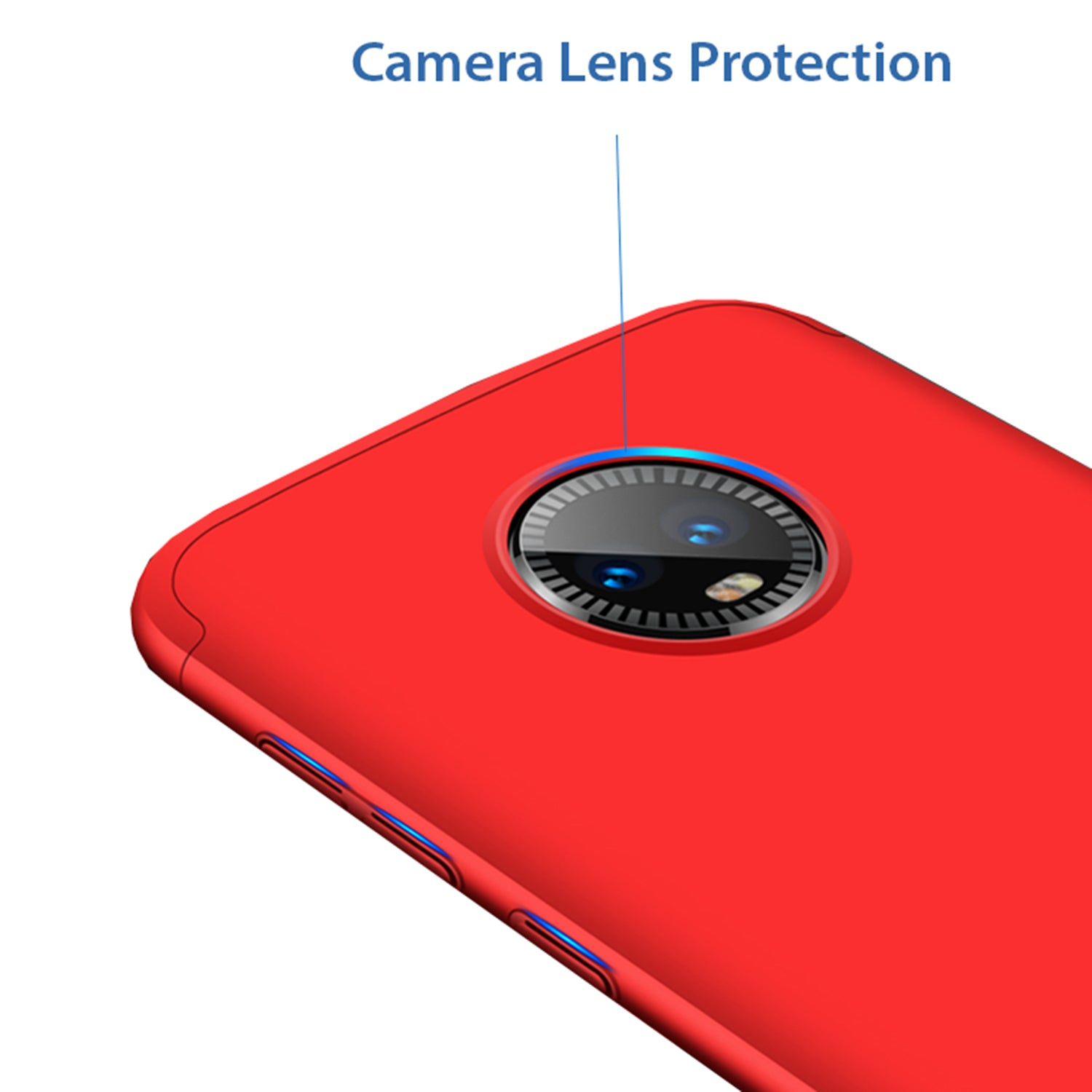 3 in 1 - 360° Full Protection Body Case Cover for MOTO G6 - Red - Mobizang