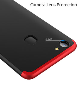 3 in 1 - 360° Full Protection Body Case Cover for VIVO V7+ [PLUS]   - Red / Black - Mobizang