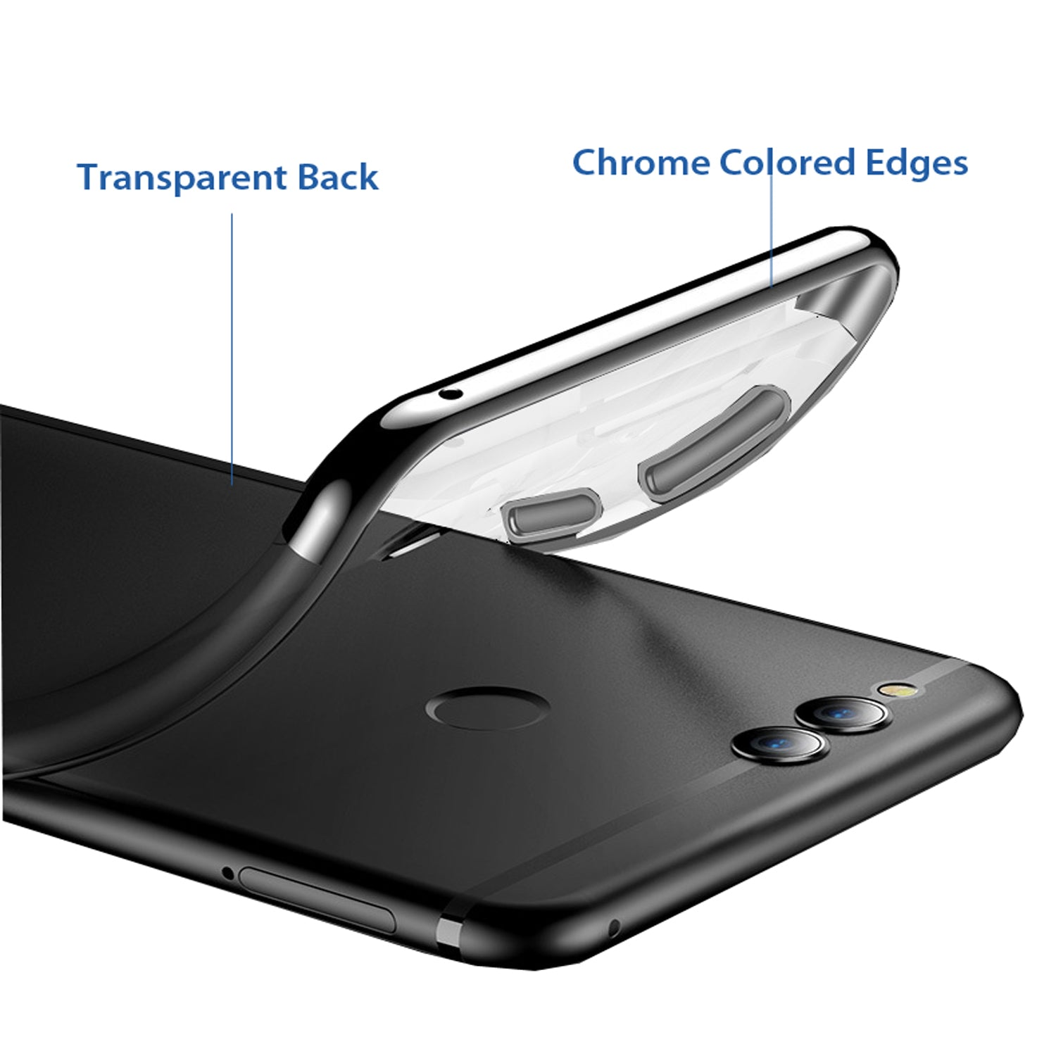 Chrome Plated Transparent Flexible Protective Case Cover for Huawei Honor 7X - Black - Mobizang