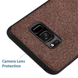 Fabric + Leather Hybrid Protective Slim Back Case Cover for Samsung Galaxy S8 -  Brown - Mobizang