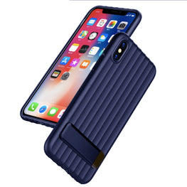 Wave Design with inbuilt Metal Stand Back Case Cover for Apple iPhone X - Blue - Mobizang