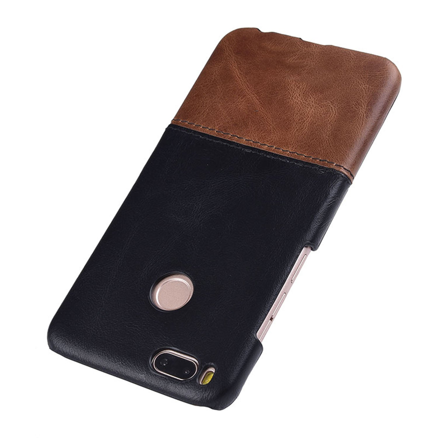 Genuine Leather Dual Color Premium Protective Case Cover for Xiaomi Mi A1 - Black , Brown - Mobizang