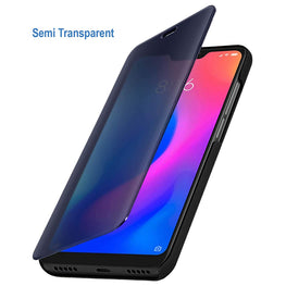 Semi Transparent Mirror View Clear Flip Luxury Case Cover for Redmi Note 7 PRO , Note 7 , Note 7S - Mobizang