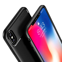 Synthetic Carbon Fibre Finish Shock Proof Flexible Back Case Cover for Apple iPhone X /  XS - Mobizang