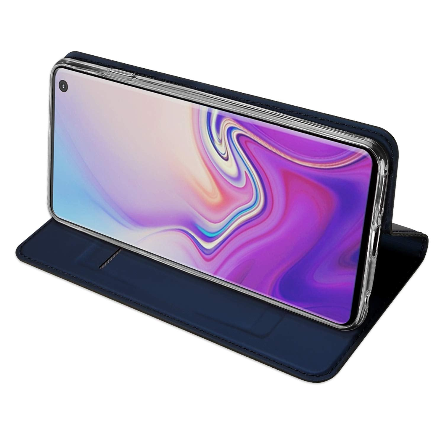 Ulta Slim Magnetic Closure PU Leather Stand Flip Case Cover [with Inbuilt Card Slot] for Samsung Galaxy S10 - Blue - Mobizang