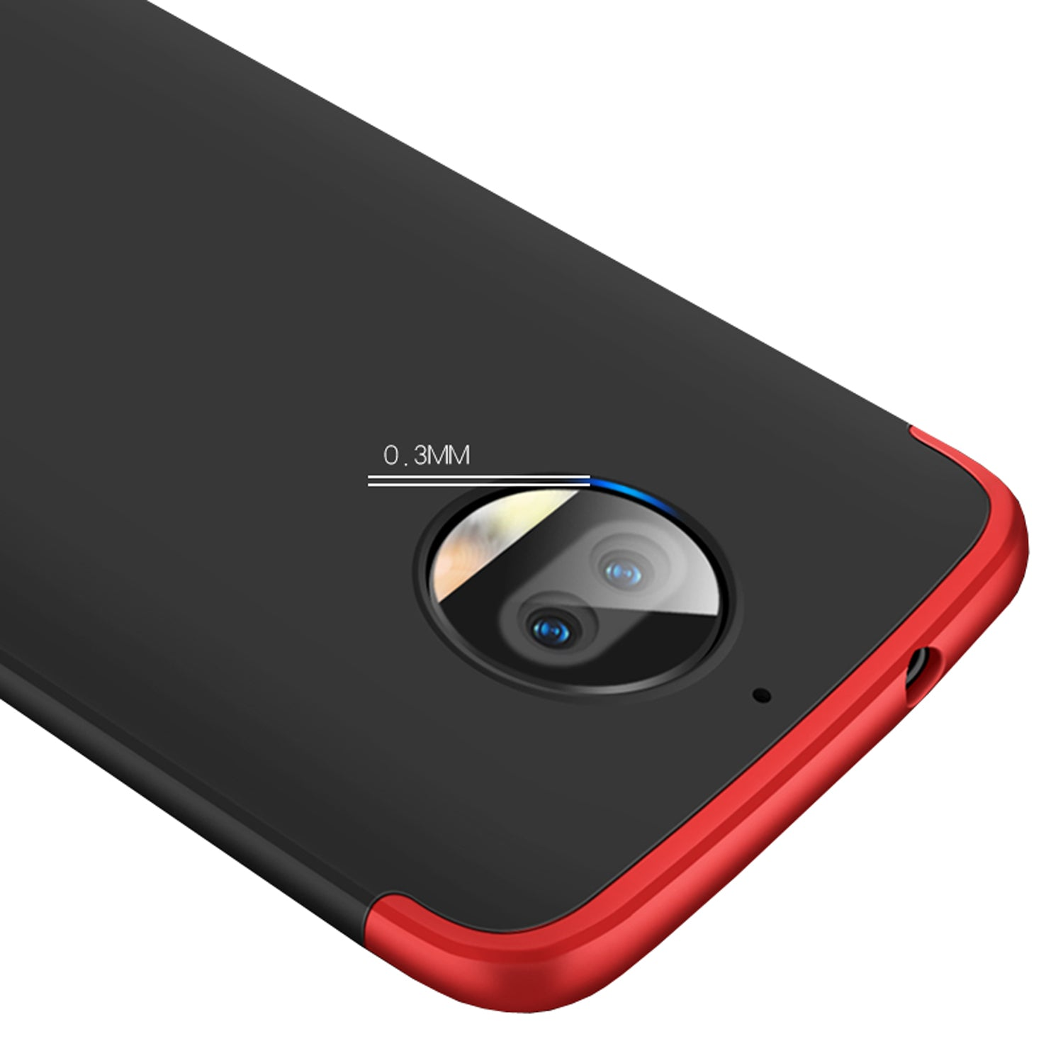 3 in 1 - 360° Full Protection Body Case Cover for MOTO G5S Plus - Red , Black - Mobizang
