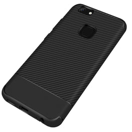 Carbon Fibre Pattern Protective Flexible Back Case Cover for Vivo V7 + [PLUS] - Black - Mobizang