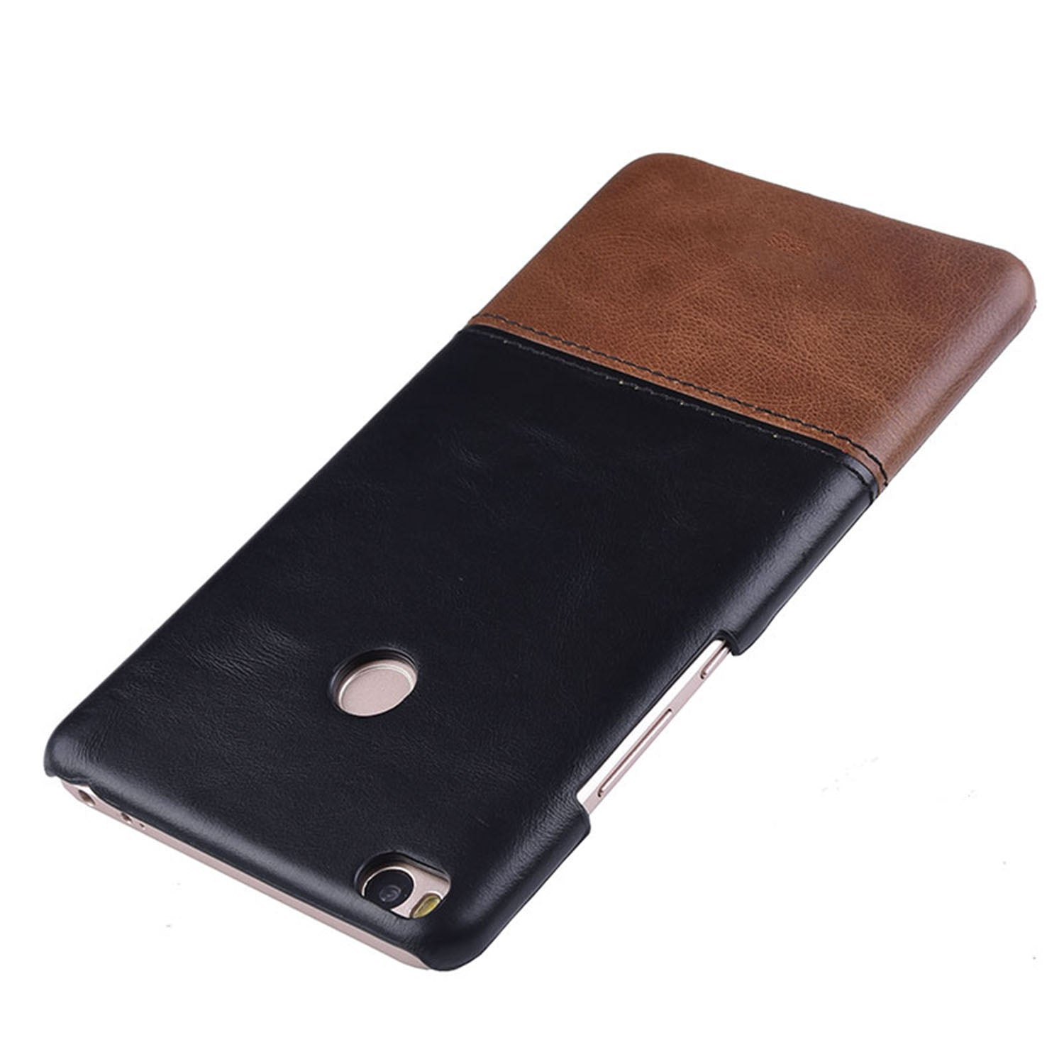 Genuine Leather Dual Color Hand Stitched Premium Protective Case Cover for Xiaomi Mi Max 2 - Black , Brown - Mobizang
