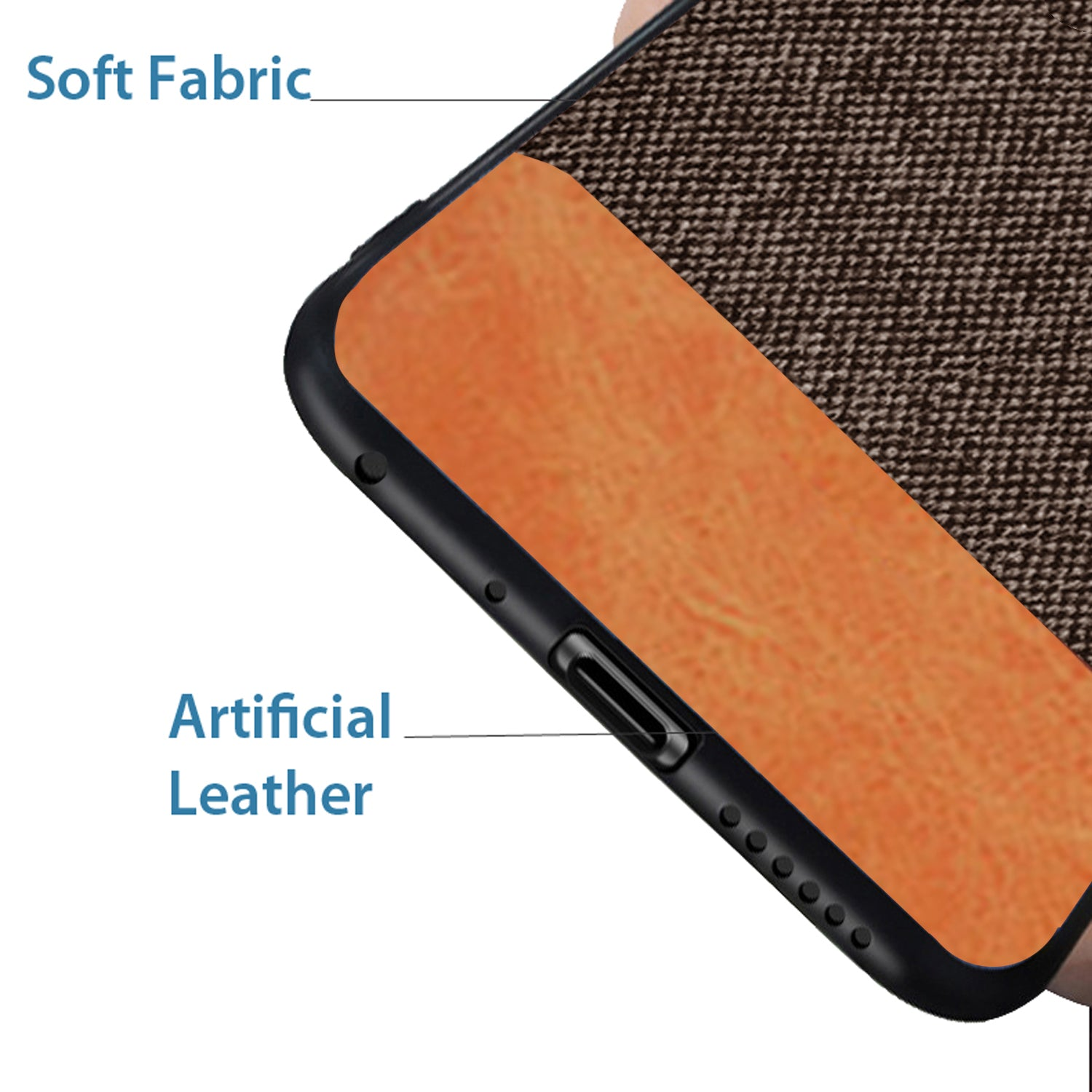 Fabric + Leather Hybrid Protective Case Cover for Xiaomi Redmi Note 5 PRO  -  Brown - Mobizang