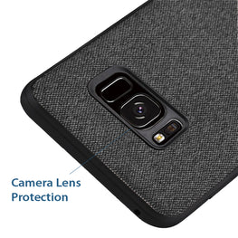 Fabric Hybrid Protective Slim Back Case Cover for Samsung Galaxy S8 - Black - Mobizang