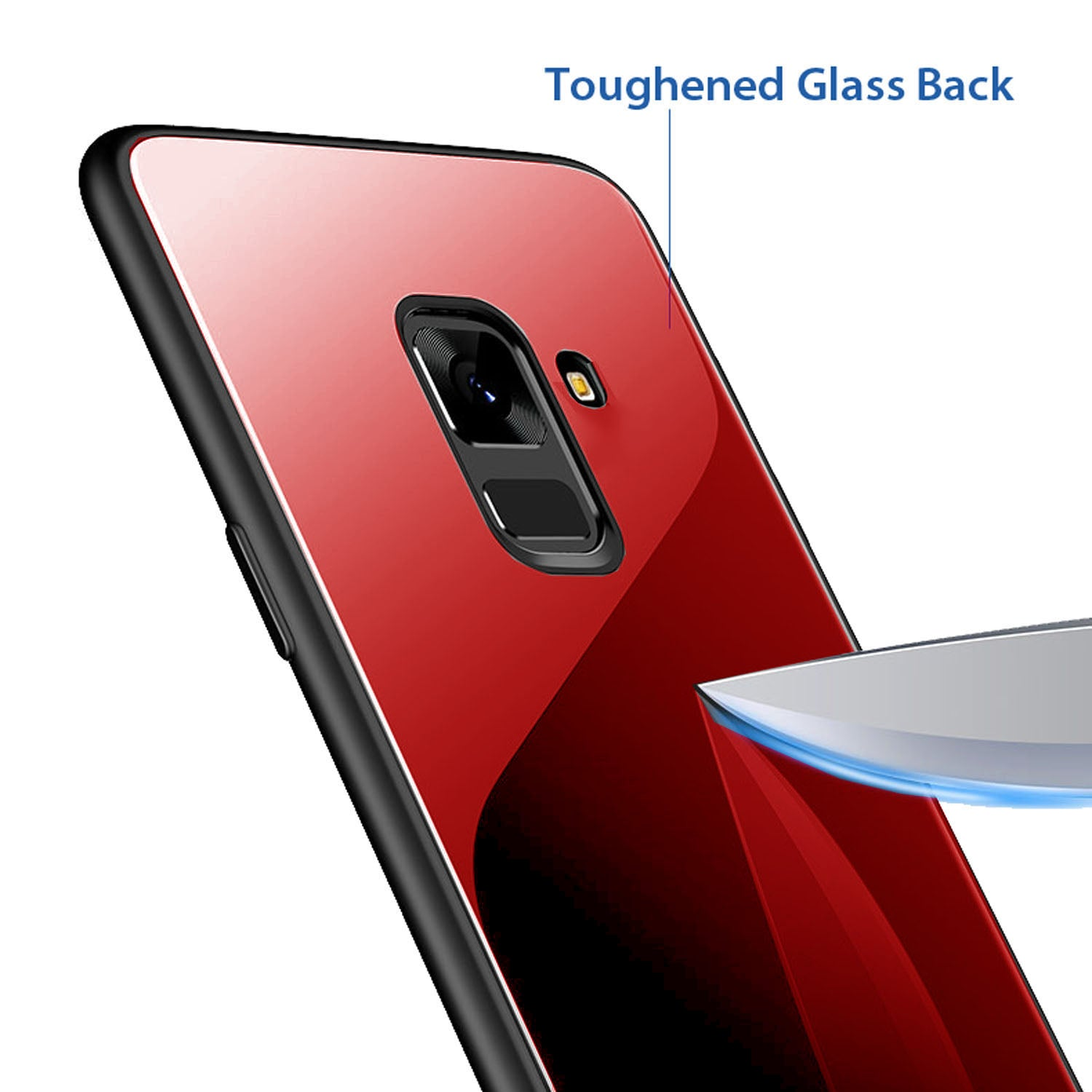 Toughened Glass Back Shock Proof Slim Case Cover for Samsung Galaxy A6+ [PLUS] - Mobizang