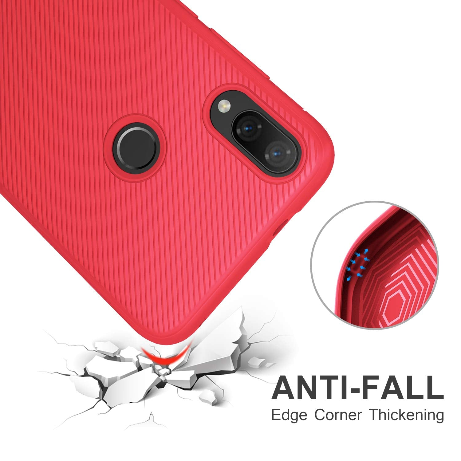 Twill Shock Proof Soft Flexible Back Case Cover for Xiaomi Mi Play - Red - Mobizang