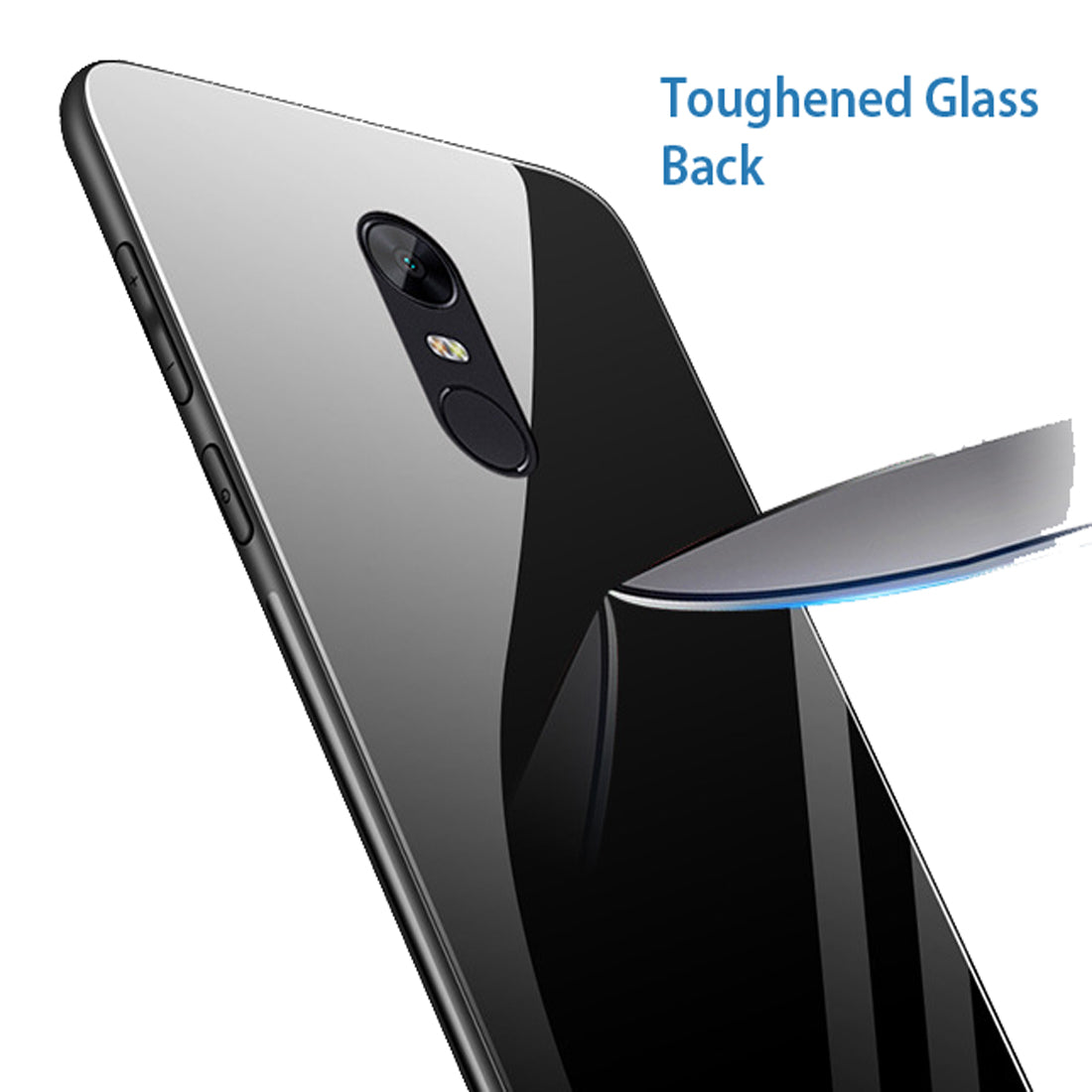 Toughened Glass Back Shock Proof Slim Case Cover for Xiaomi Redmi Note 5 - Black - Mobizang