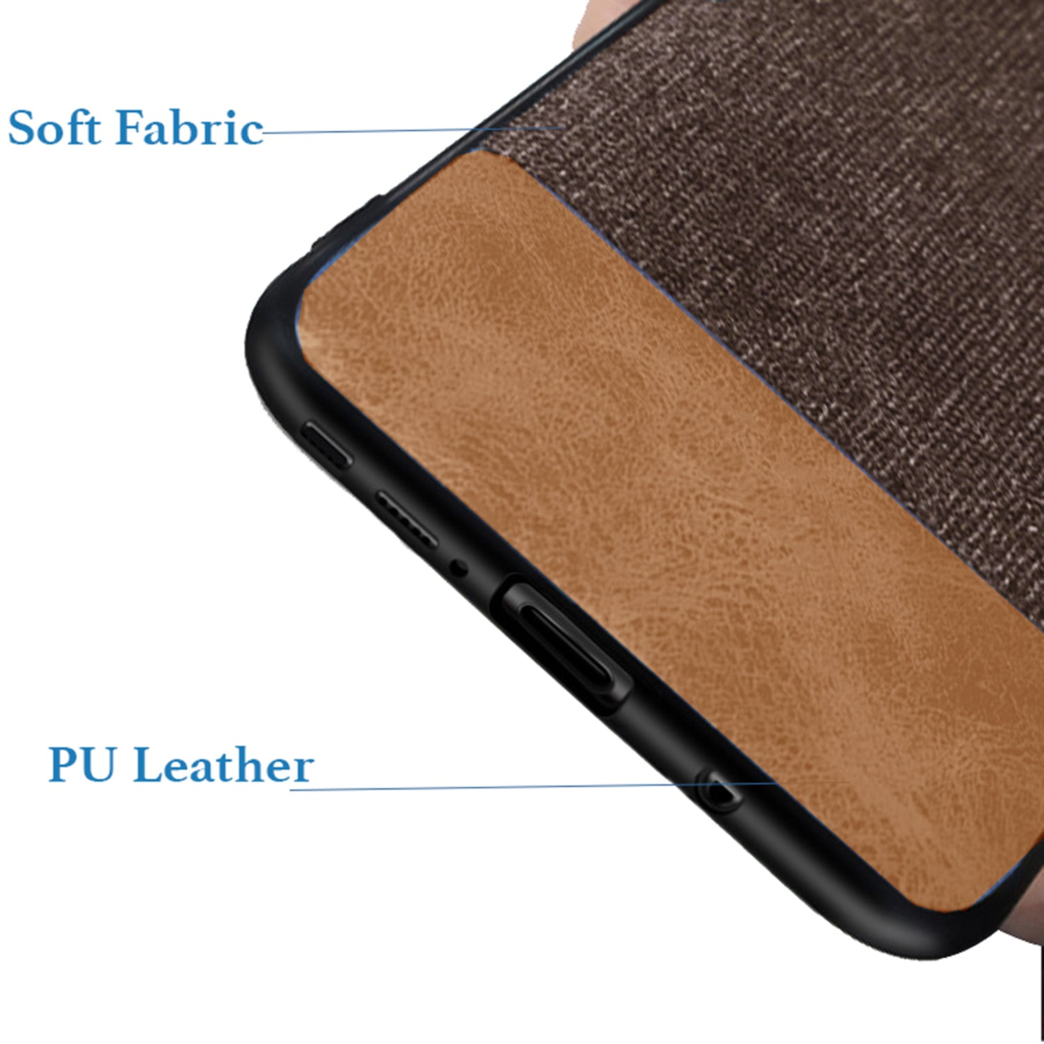 Fabric + Leather Hybrid Protective Case Cover for Samsung Galaxy Note 9 - Brown - Mobizang
