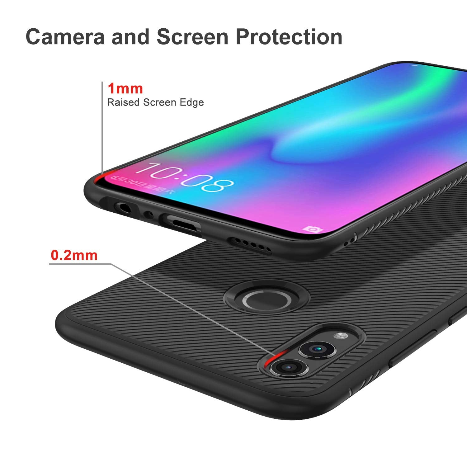 Twill Shock Proof Soft Flexible Back Case Cover for Honor 10 Lite - Black - Mobizang