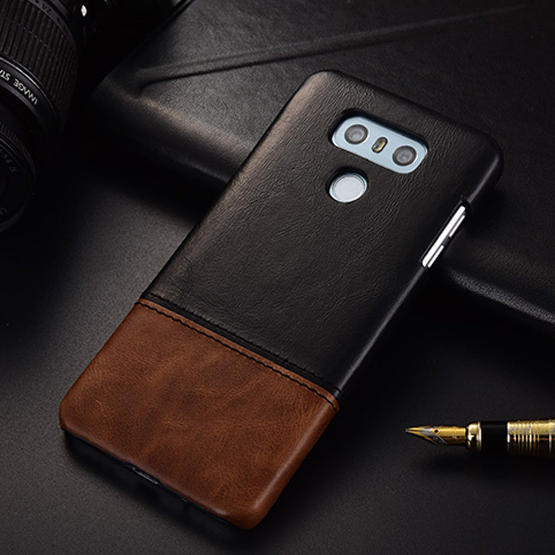 Genuine Leather Dual Color Hand Stitched Premium Protective Case Cover for LG G6 - Black , Brown - Mobizang
