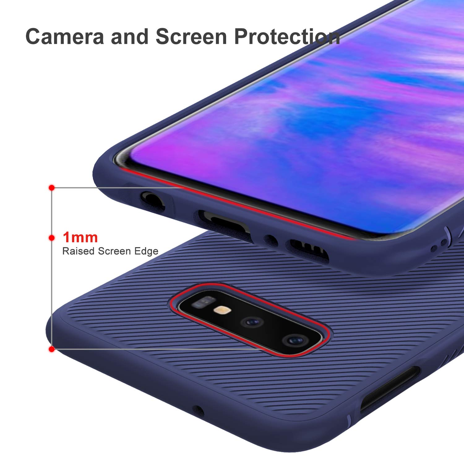 Twill Shock Proof Soft Flexible Back Case Cover for Samsung Galaxy S10e - Blue - Mobizang