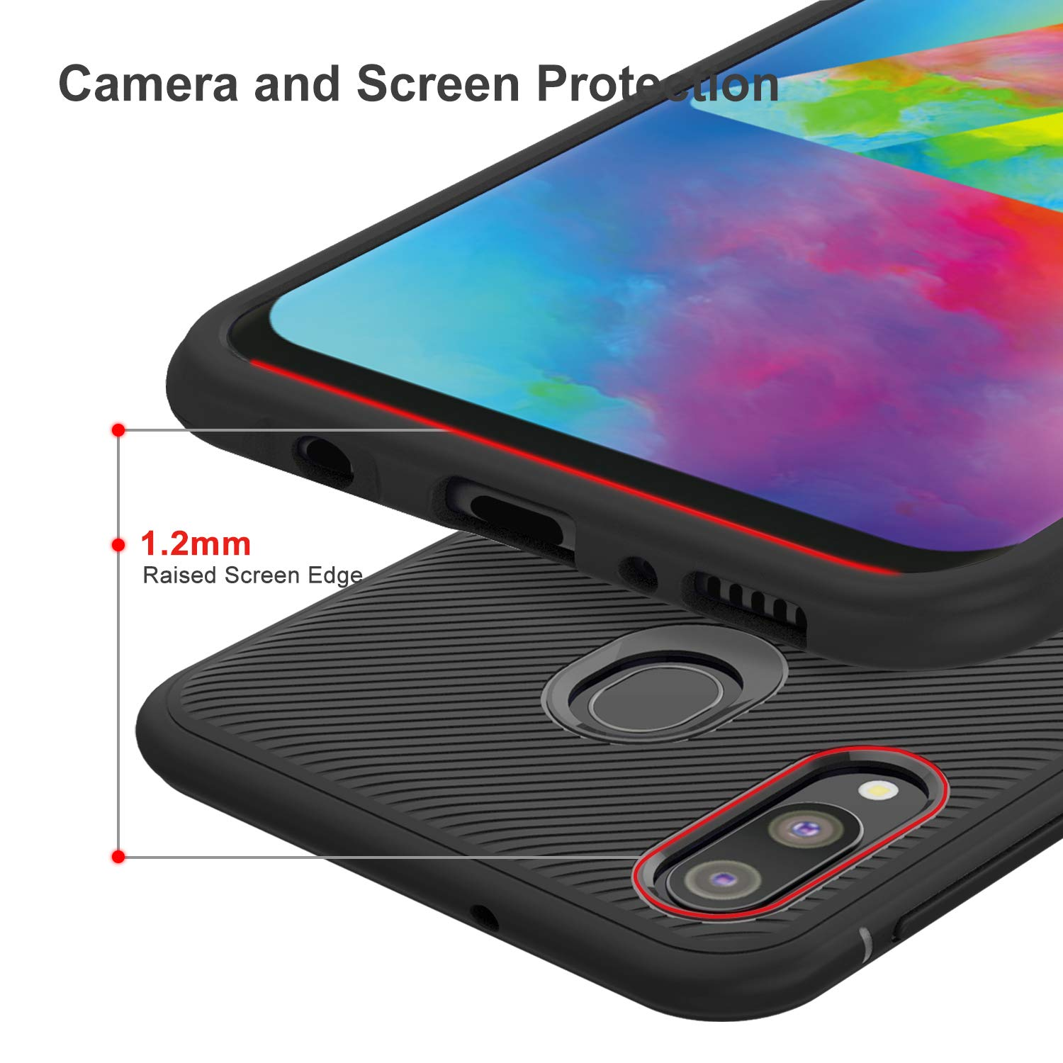 Twill Shock Proof Soft Flexible Back Case Cover for Samsung Galaxy M20 - Black - Mobizang