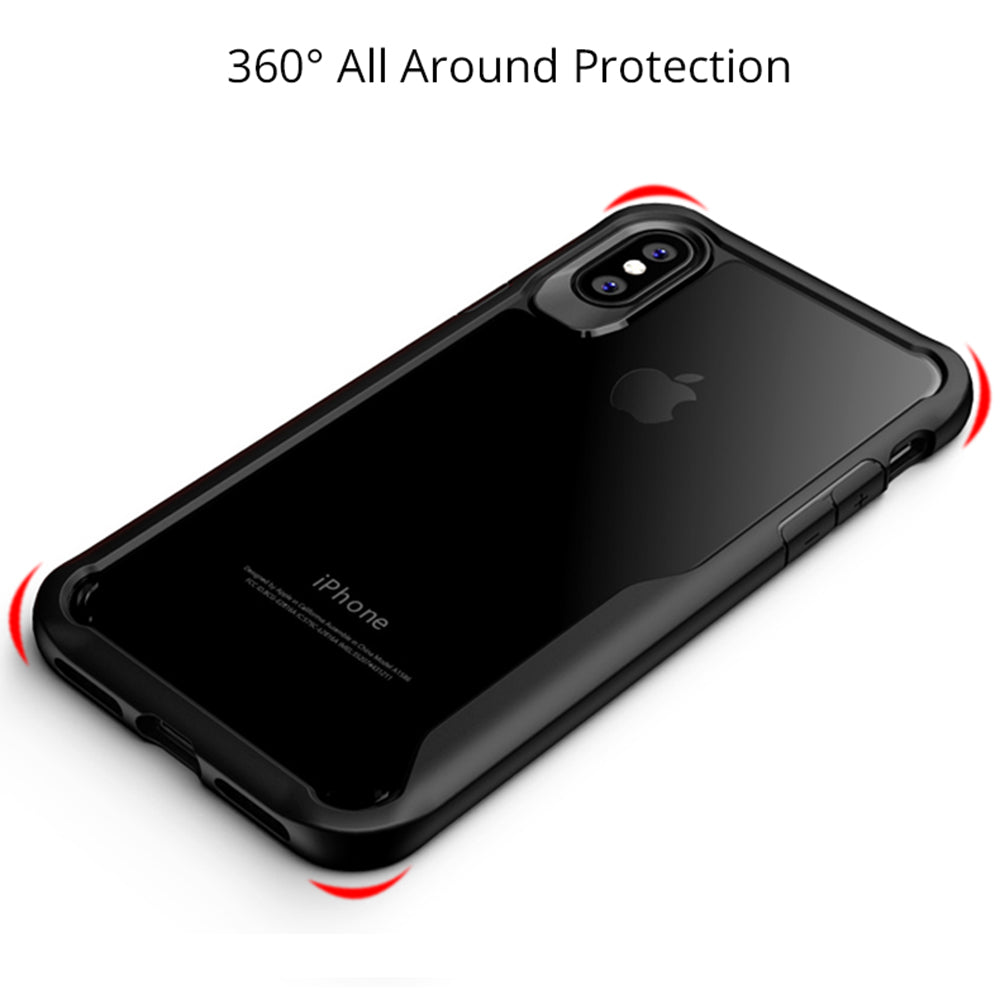 Shock Proof Armor Acrylic Transparent Back Case Cover for Apple iPhone X - Black - Mobizang