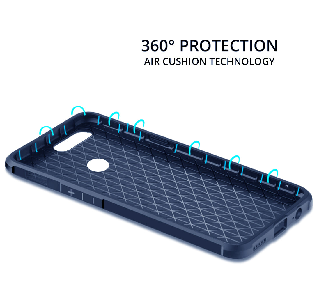 Shock Proof Air Cushions Protective Matte Back Case Cover for OnePlus 5T / One Plus 5T - Blue - Mobizang