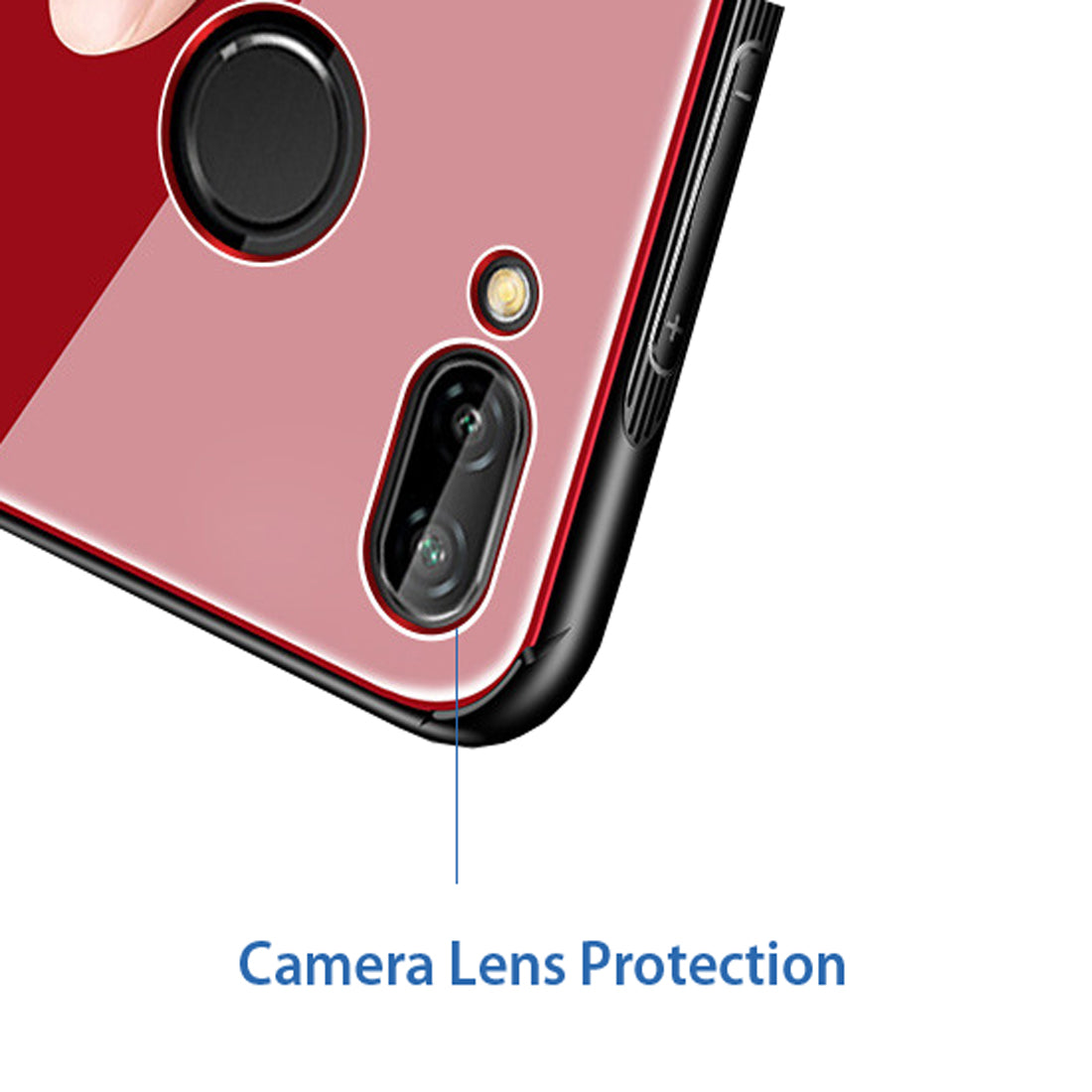 Toughened Glass Back Shock Proof Slim Case Cover for Huawei P20 Lite - Red - Mobizang
