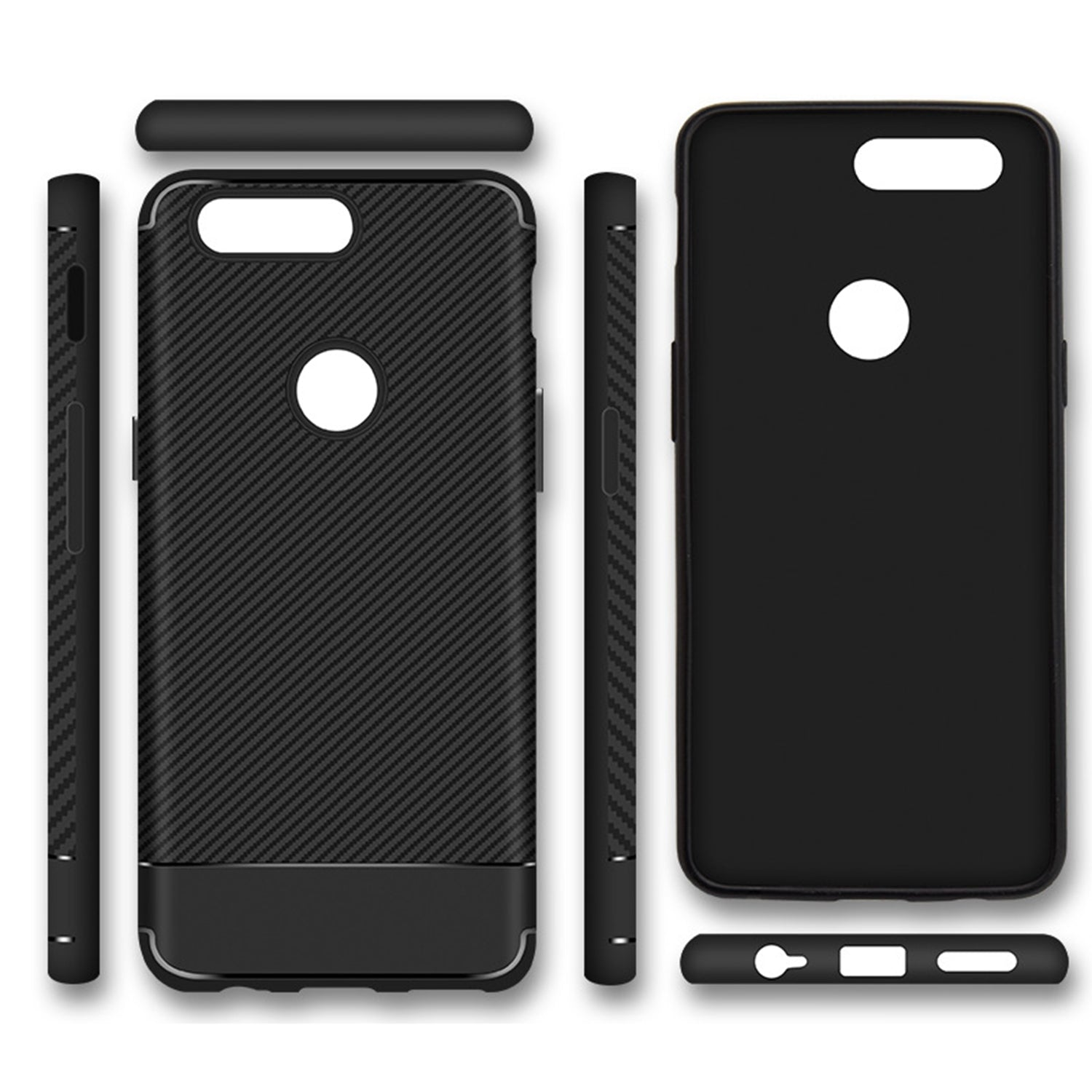 Carbon Fibre Pattern Protective Flexible Back Case Cover for Oneplus 5T - Mobizang