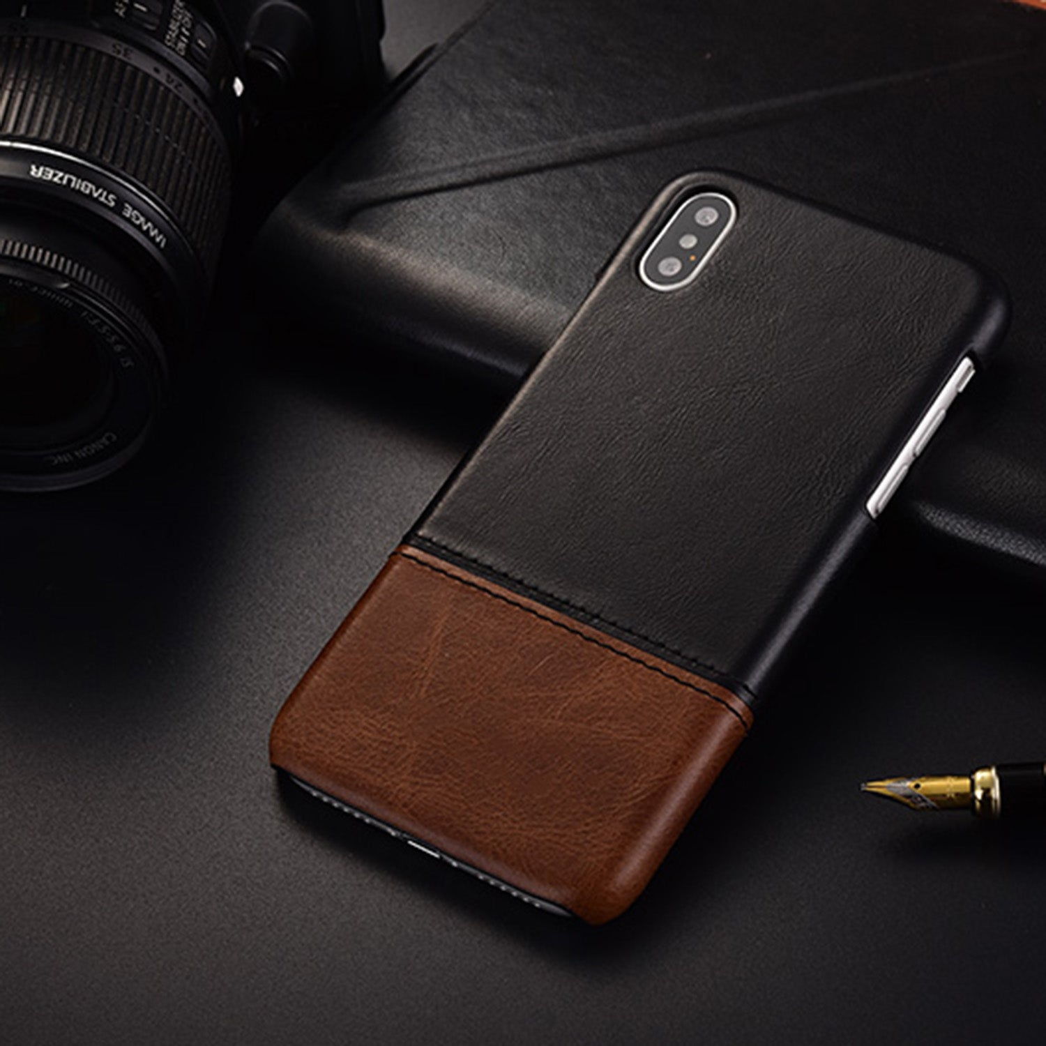 Genuine Leather Dual Color Hand Stitched Premium Protective Case Cover for Apple iPhone X - Black , Brown - Mobizang