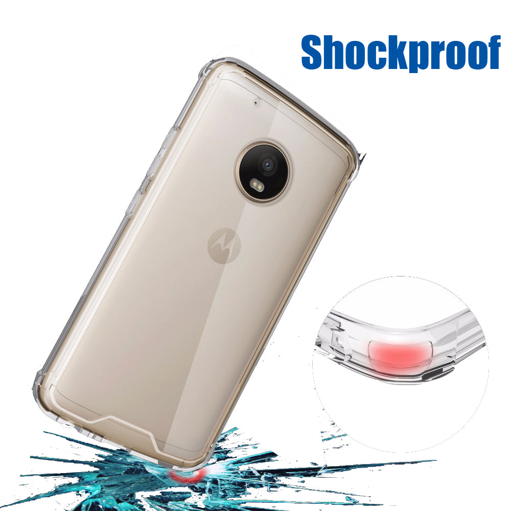 Air Defender Shock Proof Acrylic Back Case Cover for Moto G5 PLUS - Transparent Sides - Mobizang