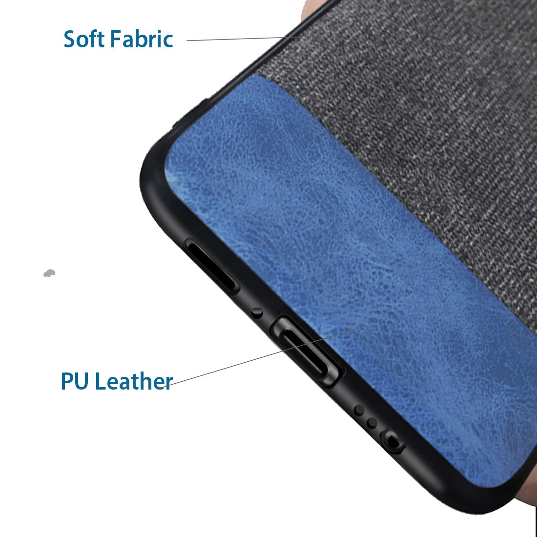 Full Fabric + Leather Hybrid Protective Case Cover for Samsung Galaxy S9 -  Black , Blue - Mobizang