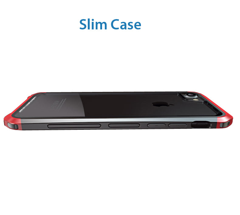 Luphie Tempered Glass Back + Metal Side Frame Bumper Shock Proof Case Cover for Apple iPhone 6 / 6S / 7  - Red , Black - Mobizang