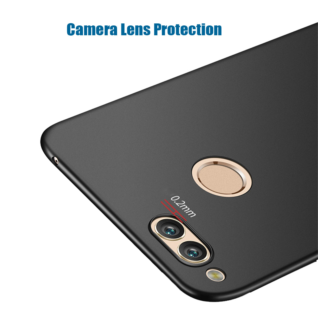 Silk Smooth Finish [Full Coverage] All Sides Protection Slim Back Case Cover For Huawei Honor 7X - Black - Mobizang