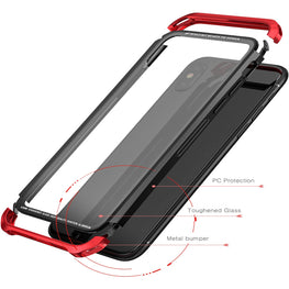 Luphie Tempered Glass Back + Metal Side Frame Bumper Shock Proof Case Cover for Apple iPhone X / XS - Red-Black - Mobizang